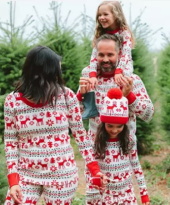 matching christmas pajamas a man with a toddler on his shoulders, a young girl and woman holing hand walking in a christmas tree farm