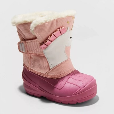 toddler snow boots pink unicorn childs boot