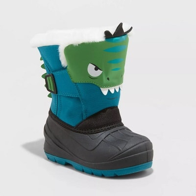 """toddler snow boots green and blue child boot with a fake """"animal"""" face on it and a black sole"""
