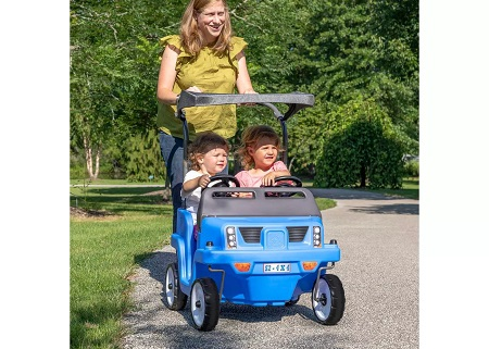 hot toys 2020 woman pushing 2 kids in blue suv stroller