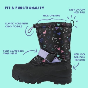 toddler snow boots cute black snow boot with colored heart on them and a few facts about the boots with arrows pointing to straps, opening, etc.