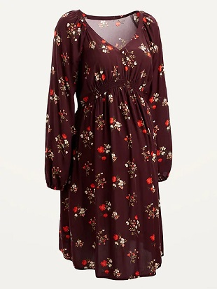 maternity baby shower dress a maroon colored floral dress