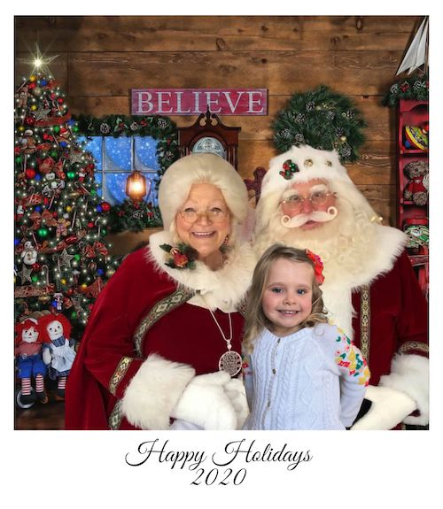 virtual santa visit girl with mrs. claus and santa