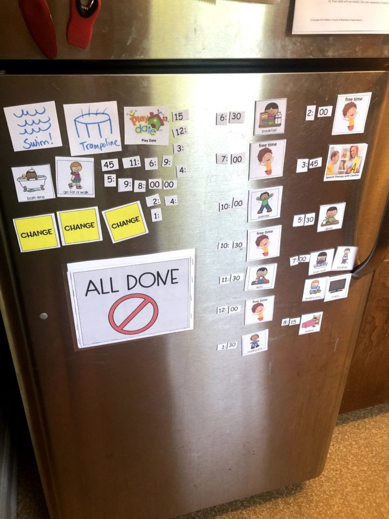 refrigerator with a visual schedule stress during covid