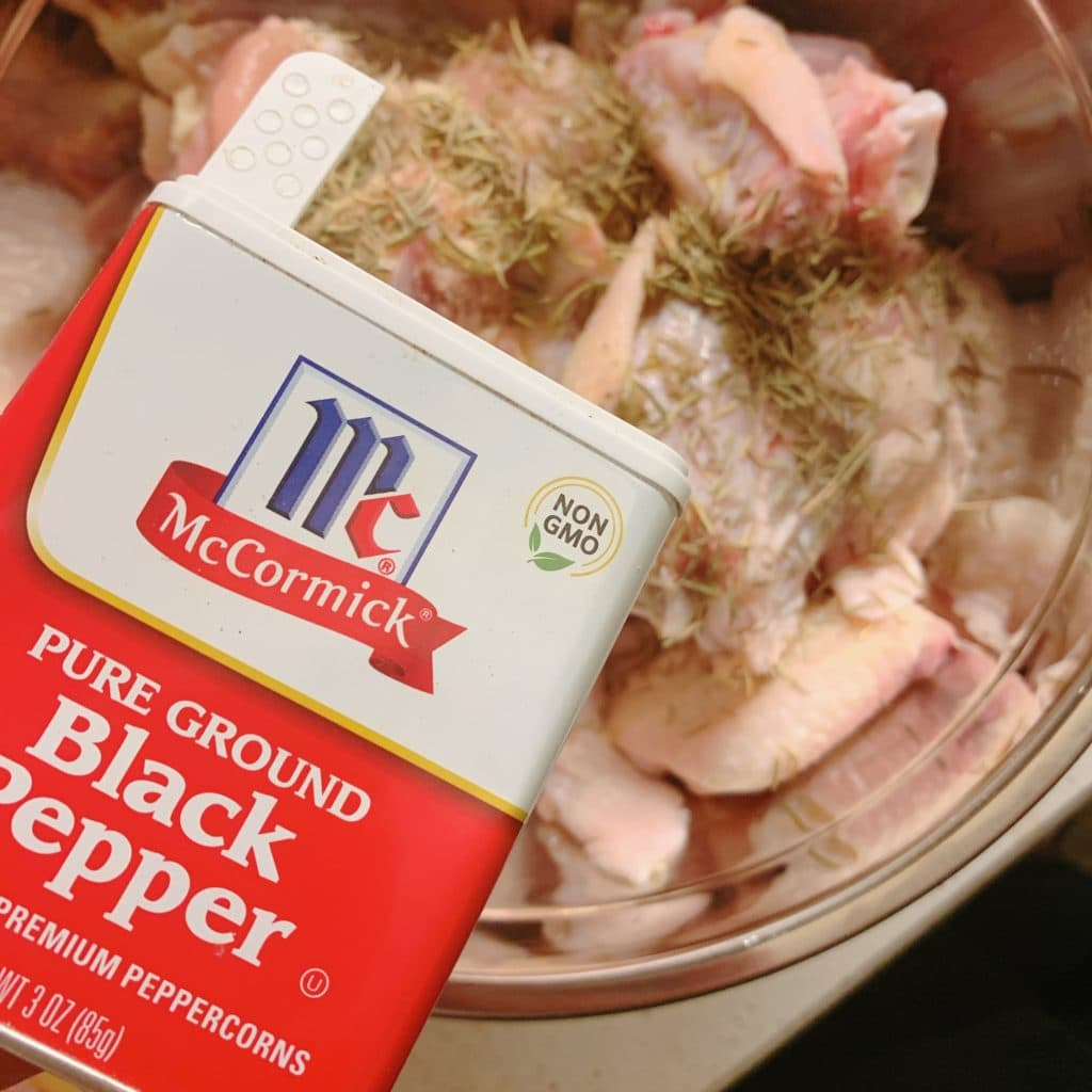 adding pepper to wings