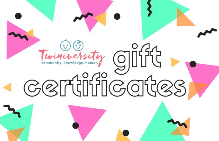Twiniversity gift certificates