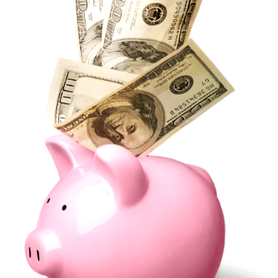 surviving divorce piggy bank with hundred dollar bills