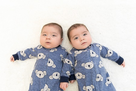 twins are not genetic clones twins in matching pajamas