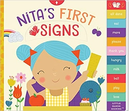 A baby board book cover for Nita's First Sign