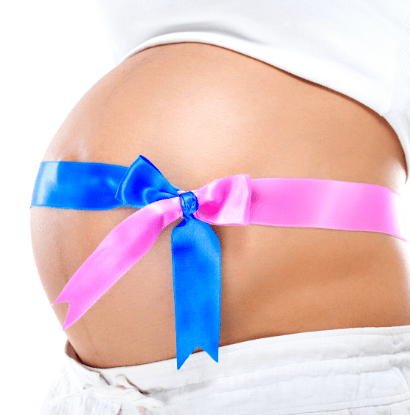 pregnant belly with pink and blue ribbon
