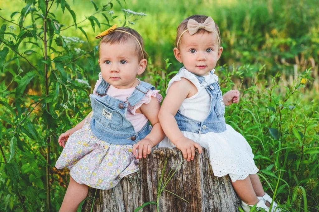 15-month-old identical twins girls in dresses sitting on a tree stump for pictures