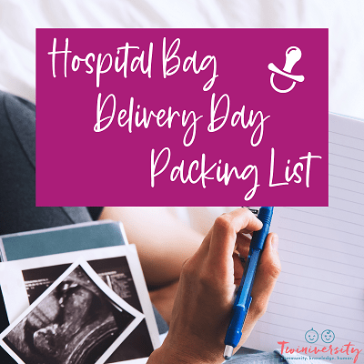 hospital bag and delivery day packing list graphic