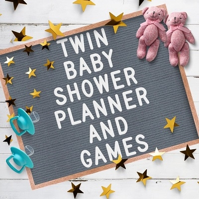 twin baby shower planner and games letterboard