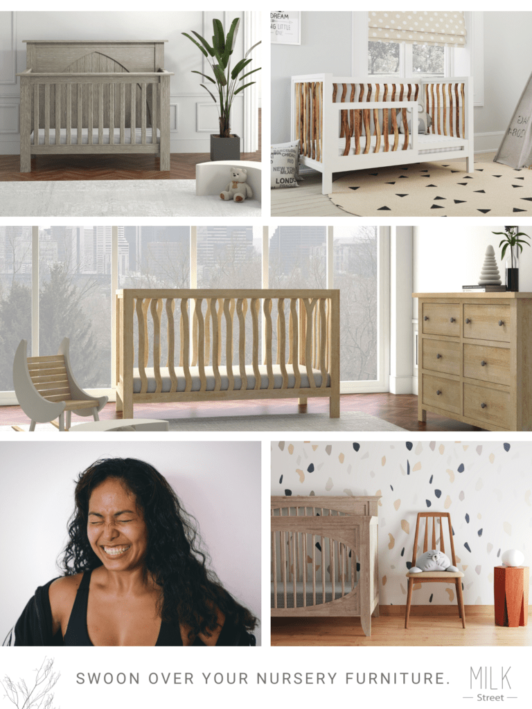 milk street baby furniture pieces cribs dressers and a woman smiling