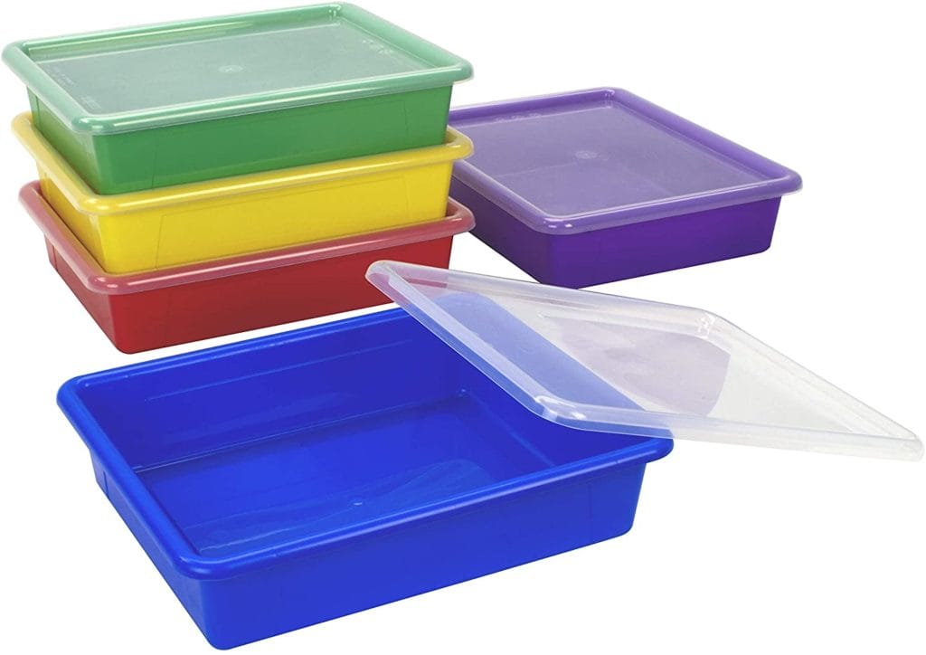 different colored bins with lids for sensory play