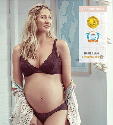 pregnant woman wearing pregnancy lingerie