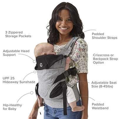 a woman holding an infant in a front carrier