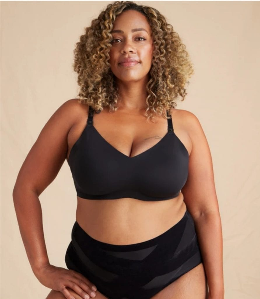 woman in maternity bra and underwear