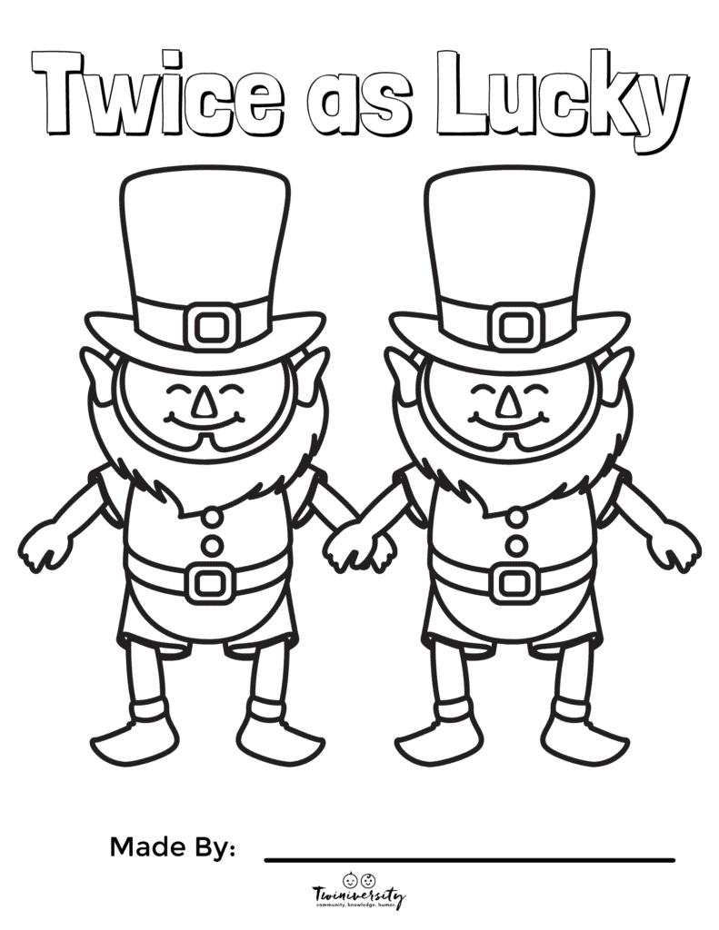 st. patrick's Day coloring pages twins