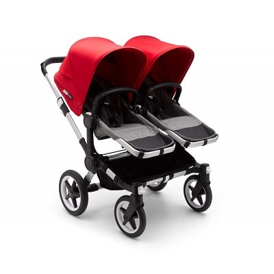 red and black bugaboo donkey3 twin stroller