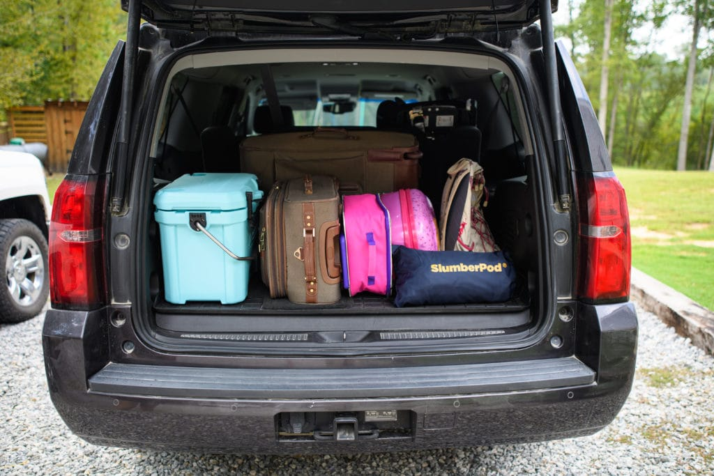 car trunk with luggage