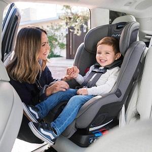 toddler in a rear facing car seat