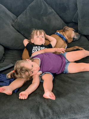 toddler girls laying on one another with a dog
