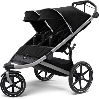 black double side by side stroller