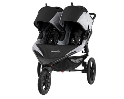 grey and black side by side double jogging stroller