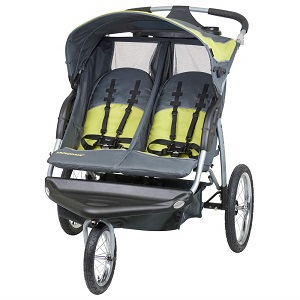 grey and yellow double stroller