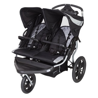 black and grey double stroller