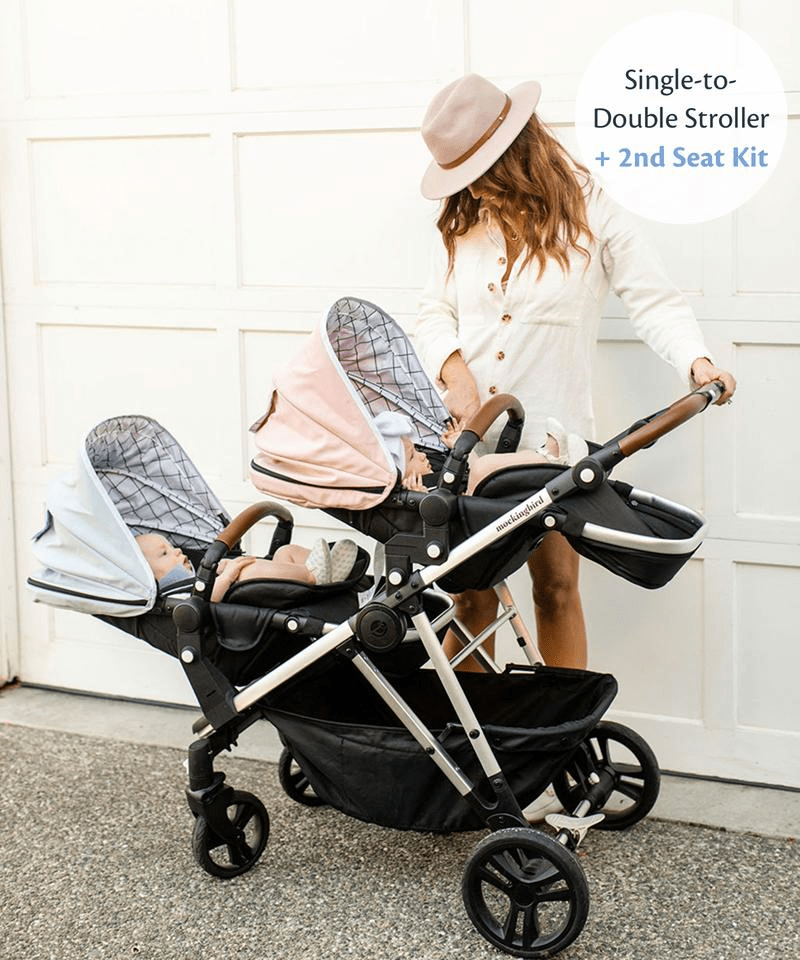 mockingbird single-to-double stroller with infant twins