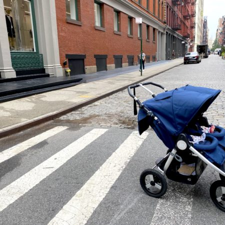 bumbleride indie twin stroller on the streets of new york city