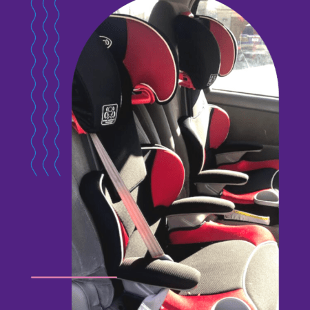 child booster seats in a minivan