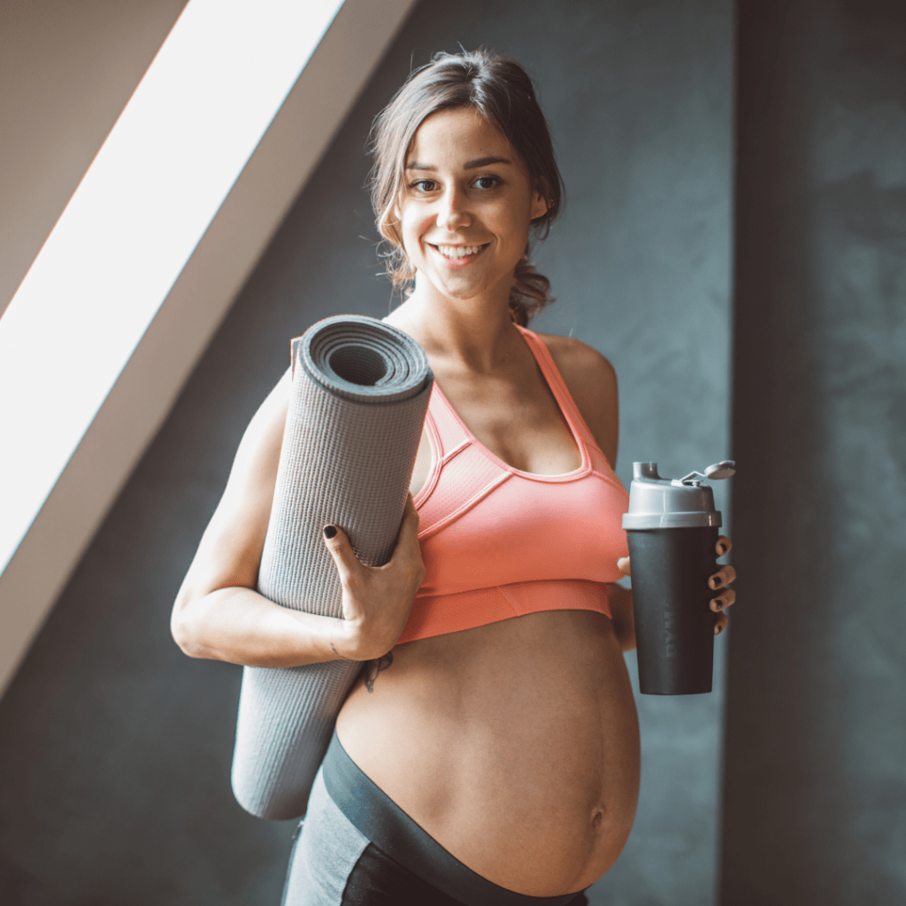 Pregnant mom with Yoga Mat
