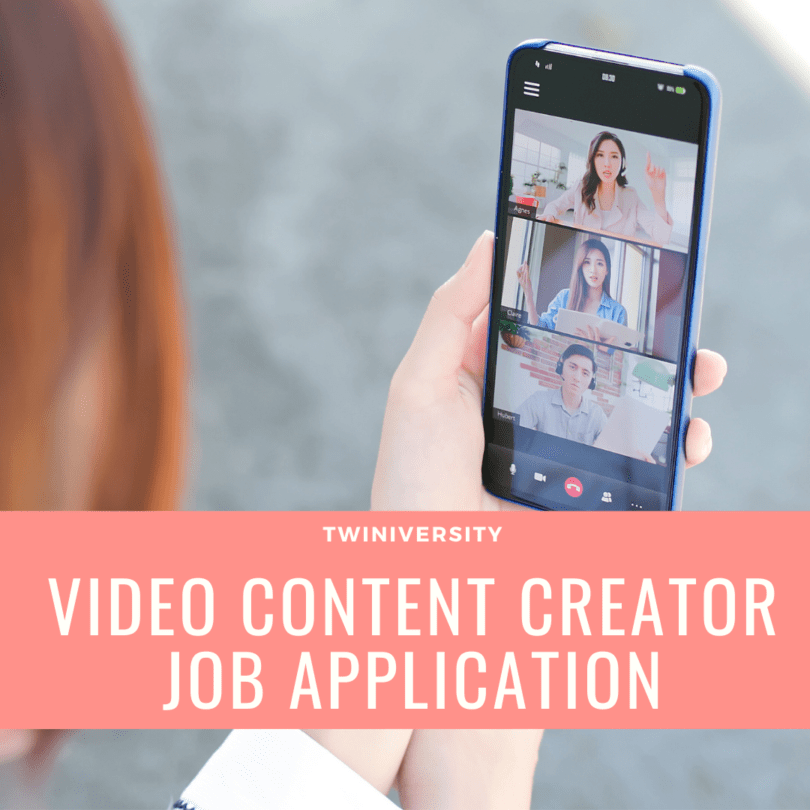 Twiniversity Video Content Creator Job Application woman holding a cell phone