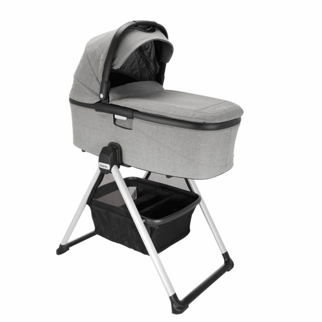 nuna bassinet and stand in gray