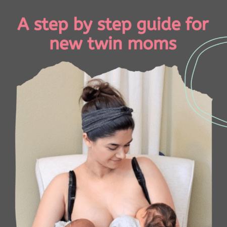 a mom breastfeeding newborn twins