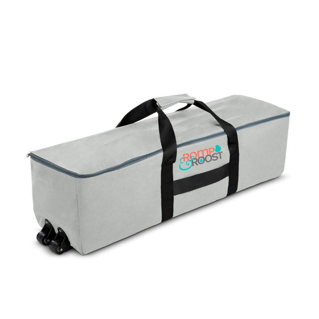 play yard folded into travel bag with wheels