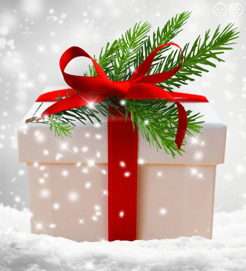 a holiday season white present with a red ribbon