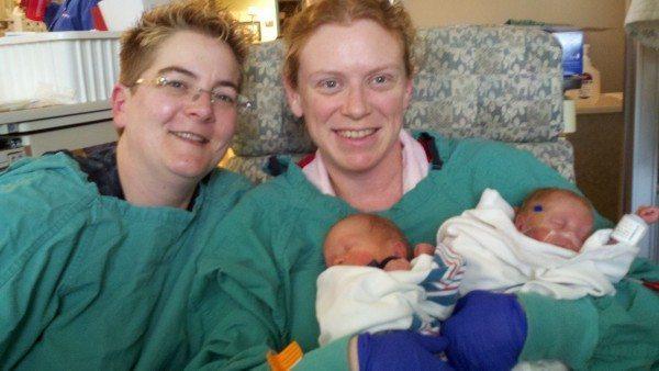 LGBT lesbian twin parents