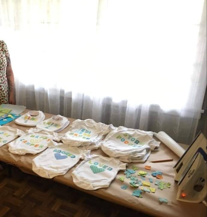 iron-on onesie station twins baby game baby shower