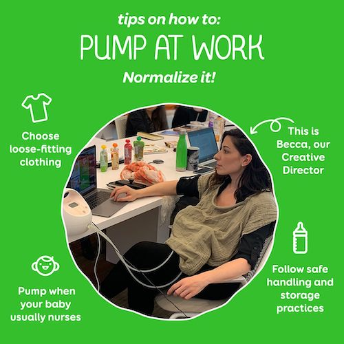 pump at work tips infographic feeding twins