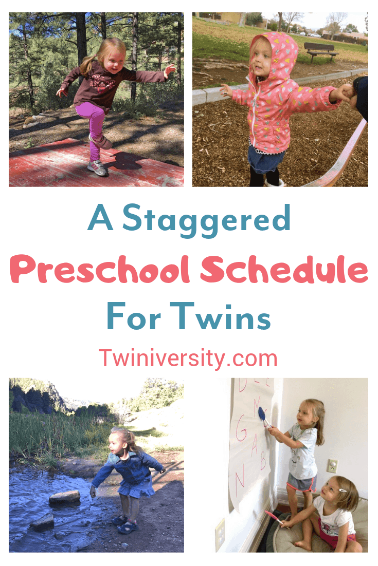 a staggered preschool schedule for twins