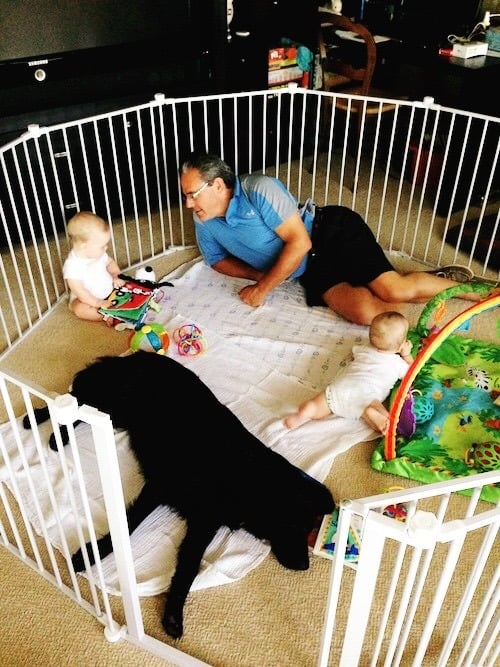 grandpa in baby jail with twin babies and a dog grandma