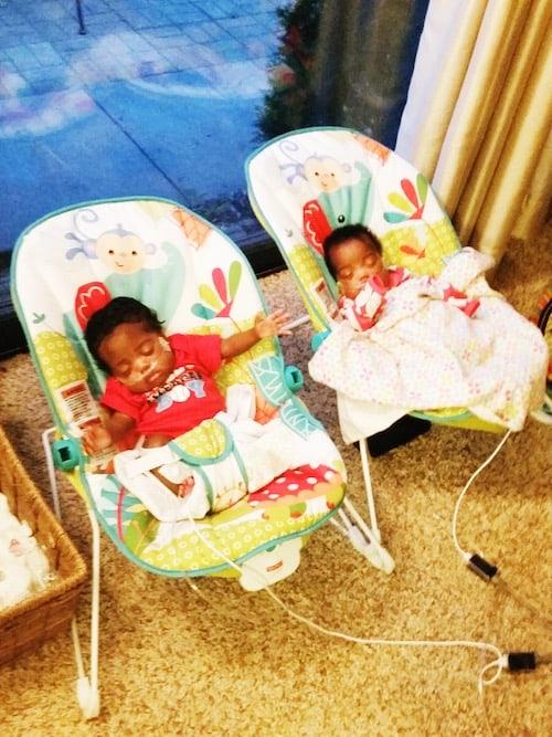twin newborns in bouncy seats gift for newborn twins