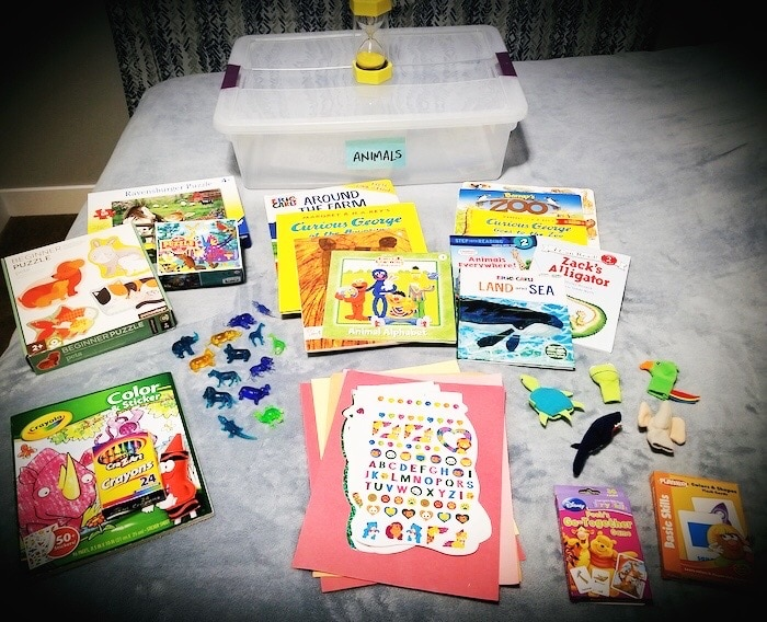 activity books and toys for quiet time boxes