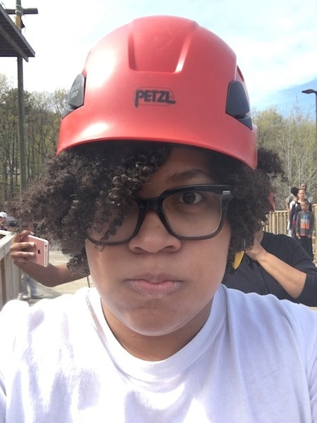 woman wearing zipline helmet after becoming a mom