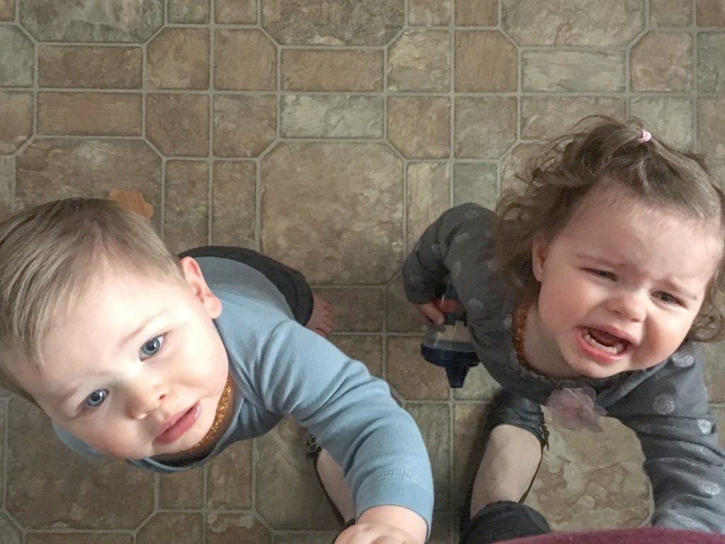 twin toddlers crying mom anxiety