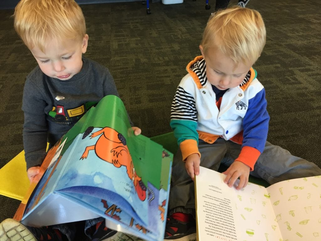 twin toddler boys reading books mother-in-law taught